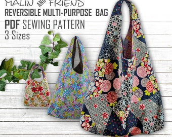 Reversible Floral  Bag Pattern PDF File - Instant Download Eco-Friendly Market Bag Template   Multipurpose Shopping Sack Printout