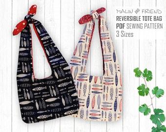 Reversible Tote Bag Pattern,,Bag Pattern PDF ,Bag Template,shopping bag pattern,Boho Bag Tutorial,Sewing Pattern,String Bag Pattern,