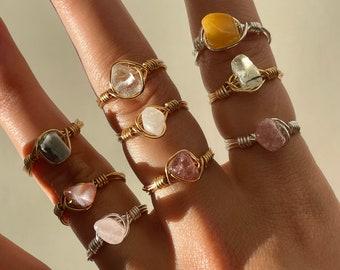 Handmade wire wrap crystal rings | handmade rings, silver, crystal rings, quartz, moonstone, rose quartz, amethyst, tarnish resistent