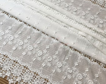 minimalist curtain,Wedding Bridal Dress,by meter,A202 White flower hollow out fabric Sunflower lace fabric Haute Couture embossed Fabric