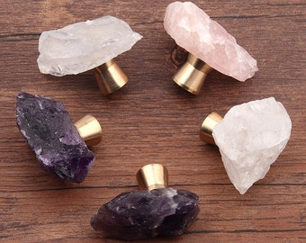 Crystal natural ore one hole Knobs Amethyst Pink crystal pure copper bottom cupboard drawer pulls wardrobe Knob Cabinet Knobs Drawer Knob