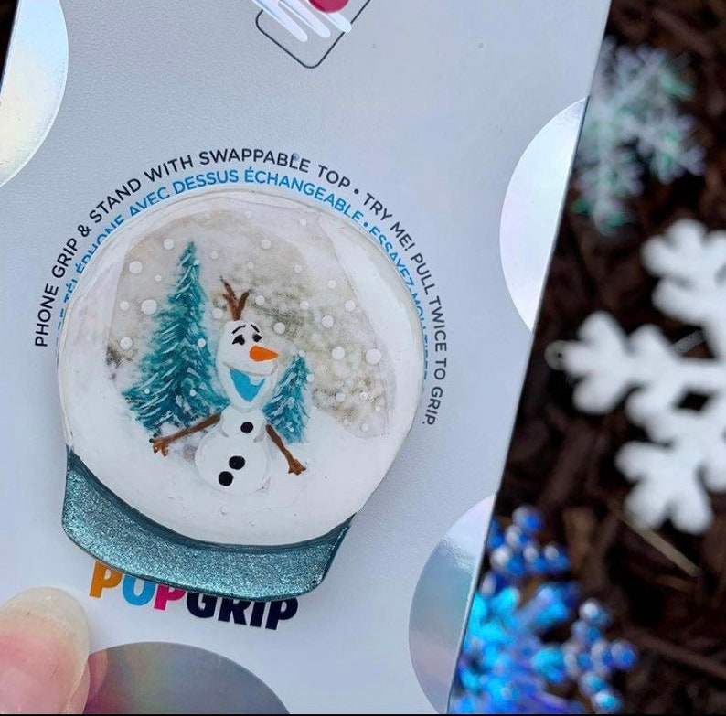Olaf Snow Globe Inspired \u201cPop Cell Phone Grip Stand