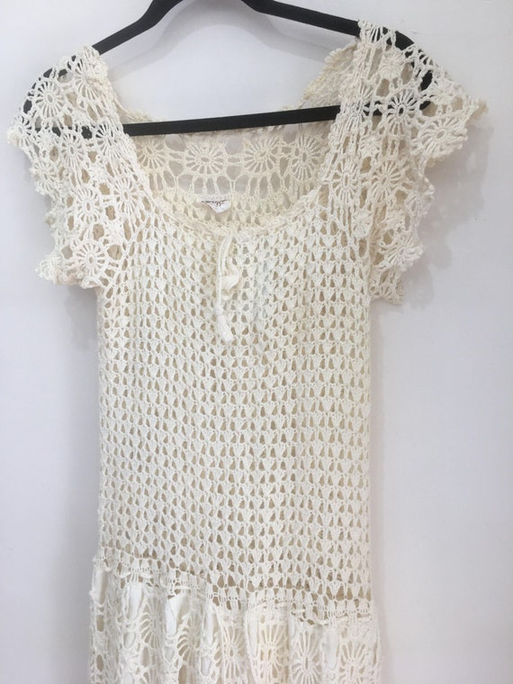 1970s hand crochet cotton dress - image 5