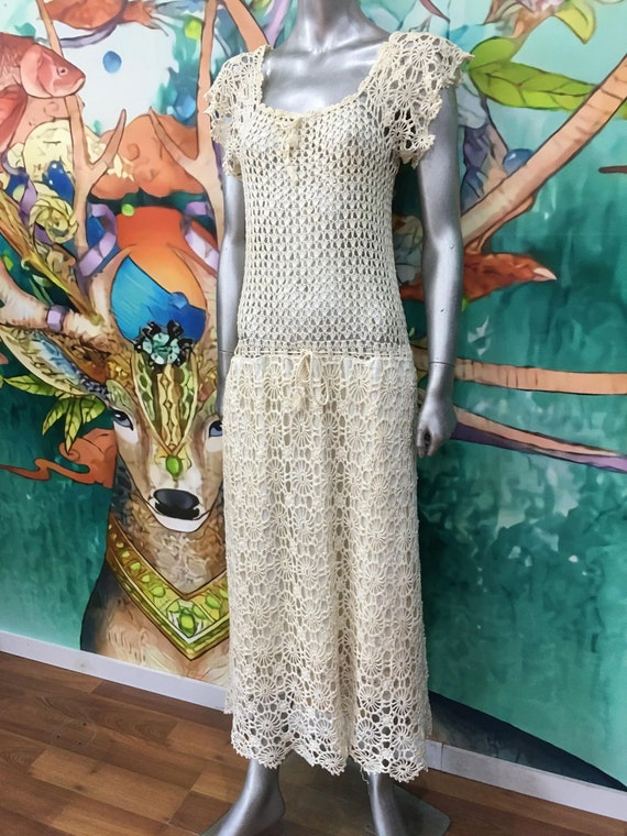 1970s hand crochet cotton dress - image 1