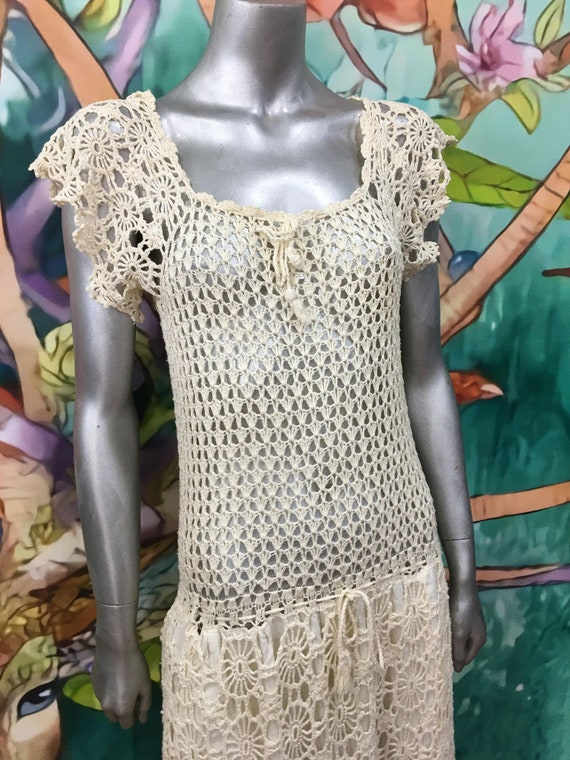 1970s hand crochet cotton dress - image 4