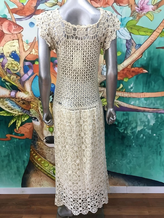 1970s hand crochet cotton dress - image 2