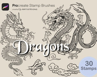 Dragon Stamp Brushes for Procreate