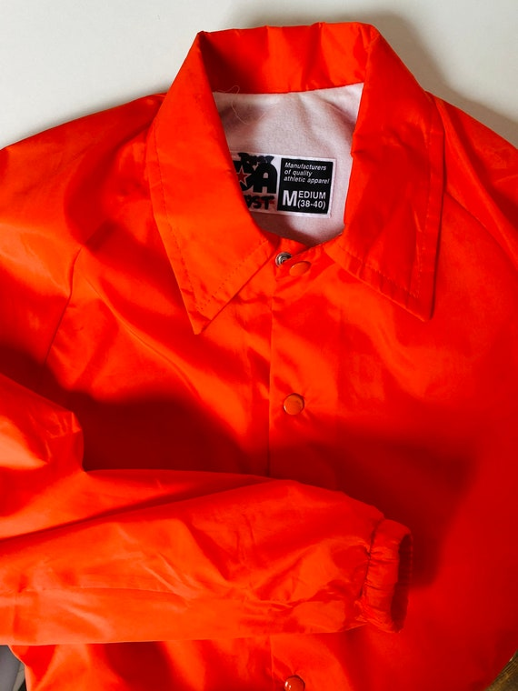 Vtg Orange Wind breaker/Sz Medium/Neon Orange/Ora… - image 2