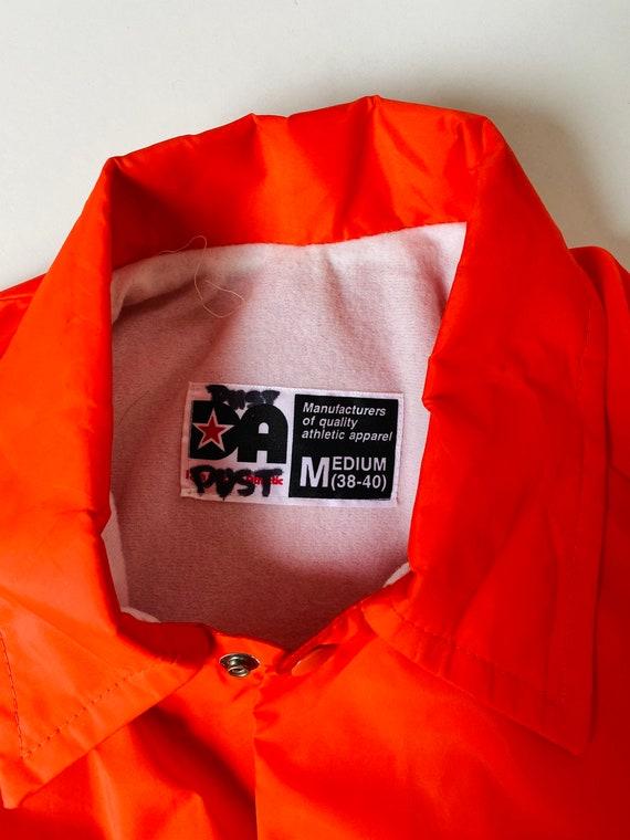Vtg Orange Wind breaker/Sz Medium/Neon Orange/Ora… - image 5