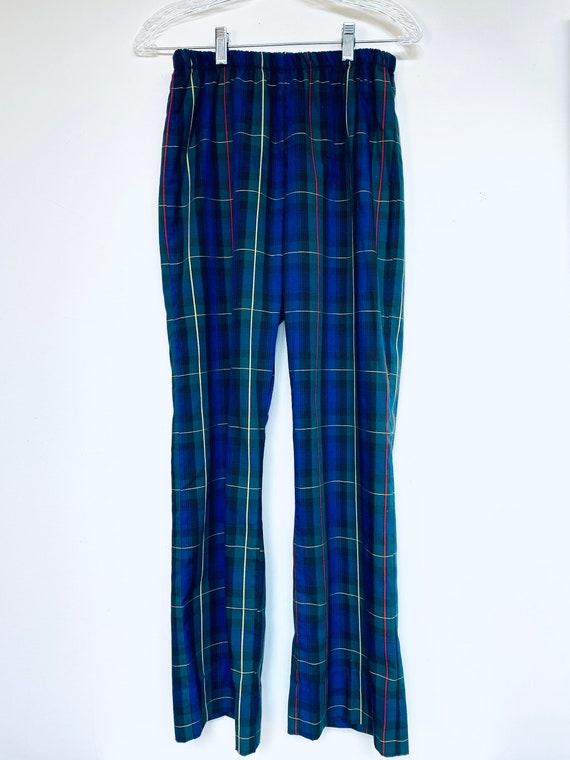 Vtg Plaid Pants/Womens/60s/Plaid/Elastic Waist/Ret