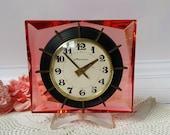 Vintage Soviet clock Molnija, Mechanical clock, Working Desk Mantle Table Clock, Made in Soviet Union 1970s