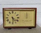 Soviet Clock Majak, Vintage Soviet Mechanical Desk Clock MAJAK USSR the 1960s Wooden case clock, Mantel clock Barometer Thermometer