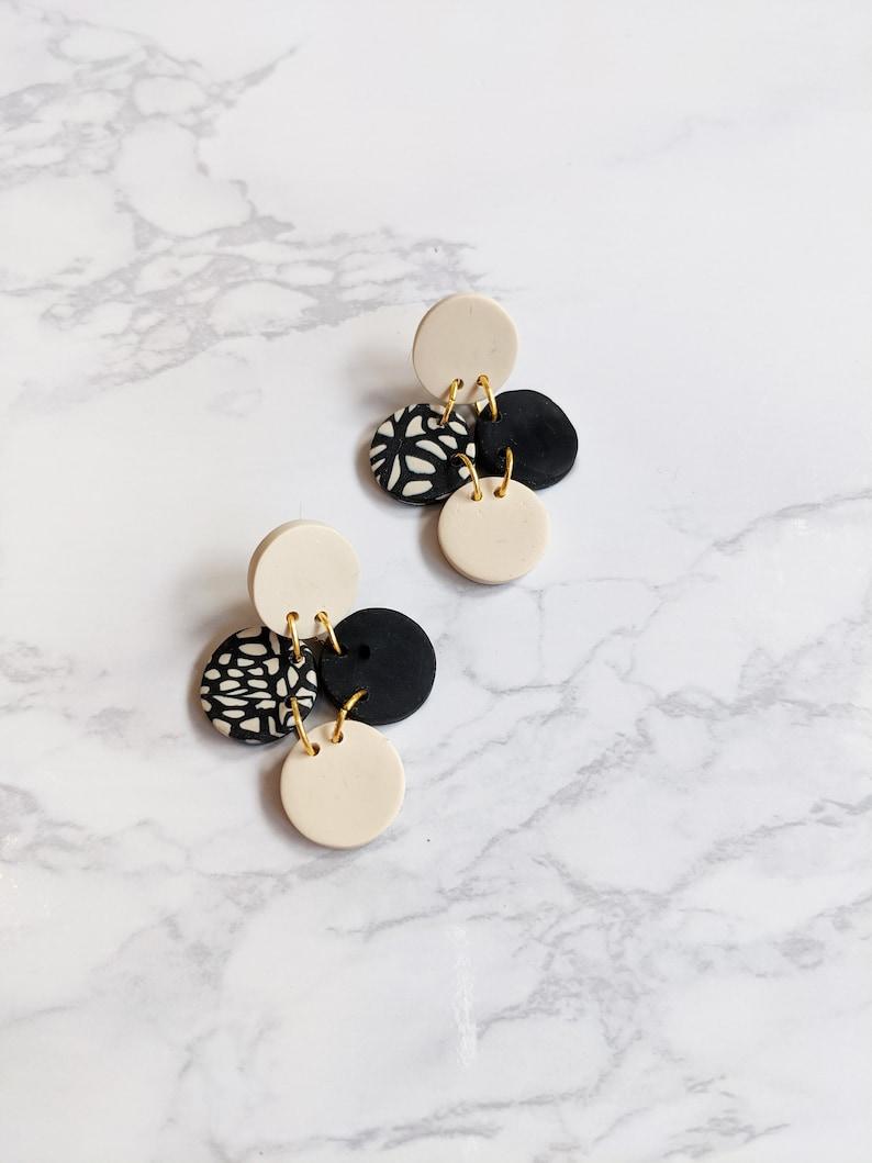 Unique Earrings Lightweight Earrings Polymer Clay Earrings Black and Nude Earrings Statement Earrings