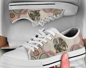 Women/'s Sneakers Custom Printed Custom Shoes Colorful Mandala Hippie Floral Streetwear Faded Mandala Handmade Crafted Spiritual