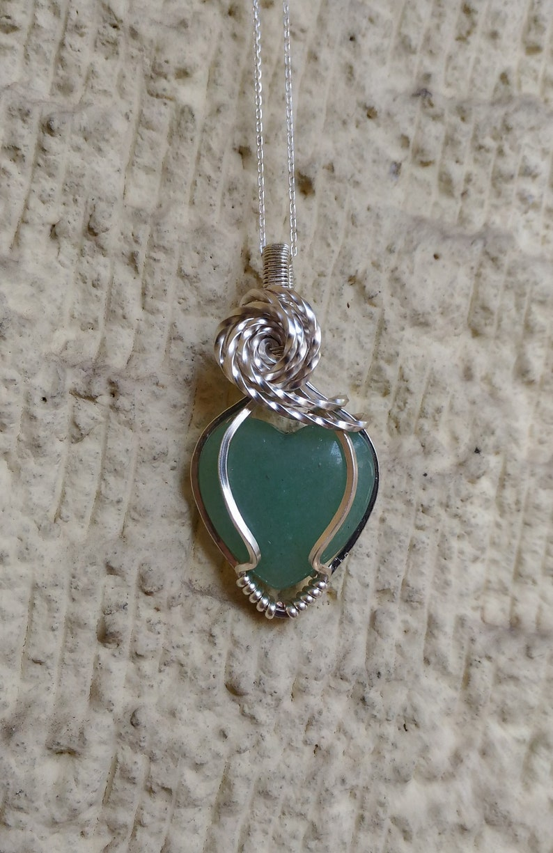 Wire Wrapped jewelry Wire wrapp Necklace Silver plated Copper Crystal Gemstone Necklace Green Aventurine wire wrap pendant Silver Chain