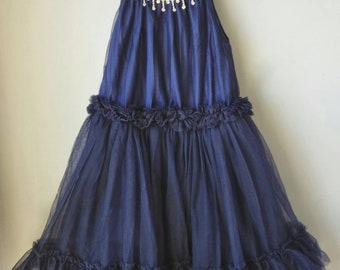 Navy Rhinestone Flowergirl Tulle Dress, Wedding, Birthday Dress, Party dress