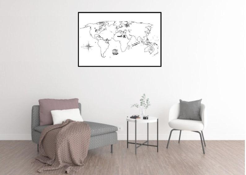 World Map Wall Art Decal Poster Kids Playroom Classroom Nursery Educational Vinyl Wall Decal Decor