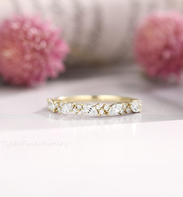Unique Yellow gold Wedding Band Marquise Moissanite Wedding Ring vintage women Half eternity Matching Stacking Bridal Promise band