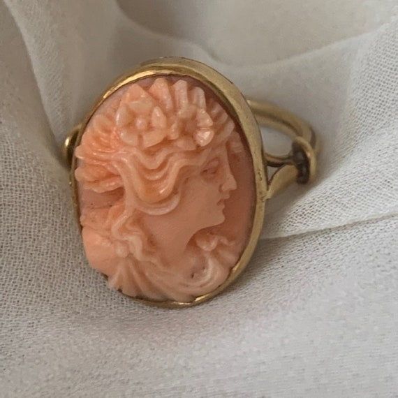 Victorian Coral Cameo Ring 14K Gold