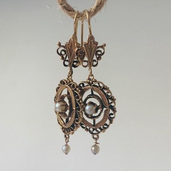 Victorian 14K Gold Ornate TearDrop Earrings with P