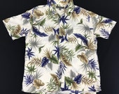 Rare Vintage 90s Hawaiian 100 Rayon Croft Barrow Art Floral All Over Printed Button Down Shirt Streetwear Designer Fits Size L XL i740