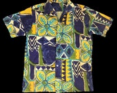 Rare Vintage 90s Aloha Hawaiian Rayon Pa ani Floral Art All Over Printed Button Down Shirt Streetwear Designer Fits Size L XL i670