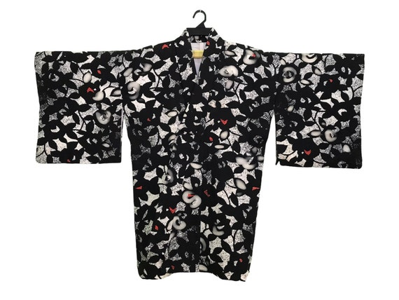 Vintage Kimono Japanese Traditional Noragi Haori Hanten Jinbei Cardigan Happi Jacket All Type Floral Art H795 WhiteRed