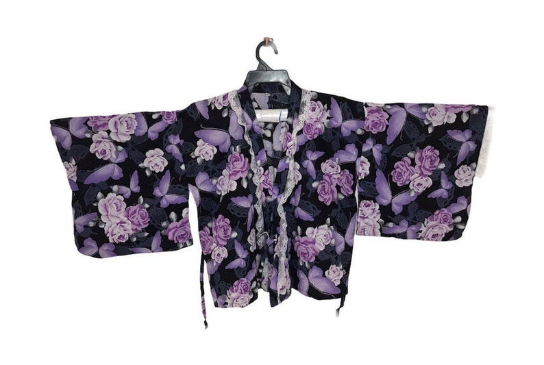 Vintage Noragi Kimono Hanten Jinbei Japanese  Haori  Happi Jacket  Black Flower B120 FREE SHIPPING Everywhere