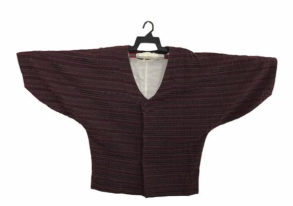 FREE SHIPPING Everywhere Vintage Noragi Kimono Hanten Jinbei Japanese Traditional Haori Cardigan Stripe Abstract Motifs Dark Purple K053 XL