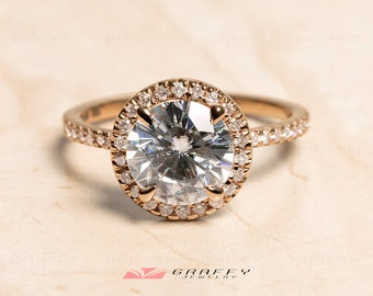7 Stone Diamond Ring in Rose Gold Curved Band 14K Rose Gold Wedding Ring Band 0.32 TCW Round Brilliant Cut Moissanite Ring Band