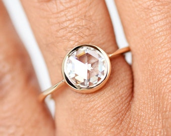 1.00 Ct Round Rose Cut Moissanite Bezel Engagement Ring in 14K Yellow Gold, Rose Cut Colorless Solitaire Ring, Bezel Ring, Engagement Ring