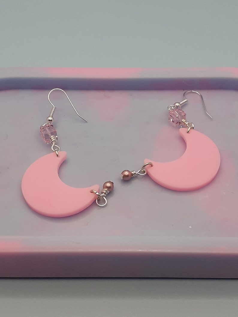 Pastel pink moon earrings pearl and cube charms