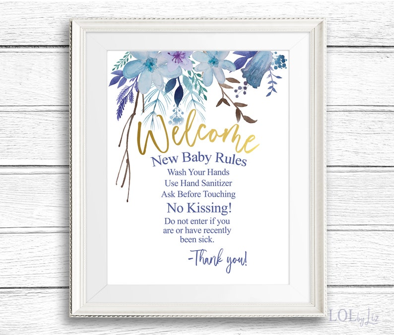 New Baby Rules for Visitors Hospital Door Sign for New Baby  image 1