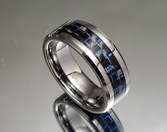 Tungsten Men's Ring, 8mm Ring With Dark Blue Carbon Fiber Inlay, Men's Statement Band