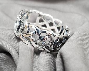 Celtic Ring, Sterling Silver Men's Ring, 925 Men's Ring, 7mm Wedding Band, Engagement Band for Men, Thumb Ring