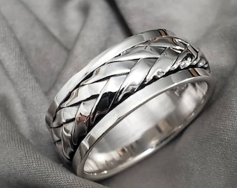 Woven Spinner Band, Sterling Silver 925 Men's Ring, 9mm Wedding Band, Engagement Band for Men
