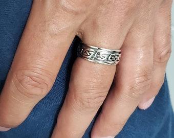 Celtic Spinner Band, Meditation Sterling Silver 925 Men's Ring, 8mm Wedding Band, Engagement Band for Men