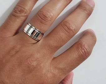 Thick Plain Spinner Band, Sterling Silver 925 Men's Ring, 10mm Wedding Band, Engagement Band for Men