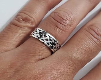 Celtic Woven Band, Sterling Silver 925 Men's Ring, 7mm Wedding Band, Engagement Band for Men