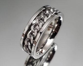 Chain link Spinner Band, 316L Stainless Steel Men's Ring, Wedding Band, Engagement Band for Men, Meditation Ring