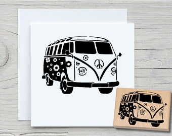 Stamp Bulli - DIY Motif Stamp for Crafting Cards, Paper, Fabrics - Hobby, Travel, Car
