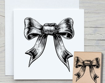 Stamp Bow 01 - DIY Motif Stamp for Crafting Cards, Paper, Fabrics - Hobby, Ribbons, Cord