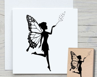 Stamp Fairy - DIY Motif Stamp for Crafting Cards, Paper, Fabrics - Hobby, Elf, Forest