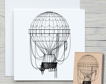Stamp Hot Air Balloon - DIY Motif Stamp for Crafting Cards, Paper, Fabrics - Hobby, Balloon, Aviation