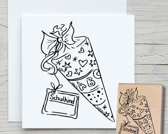 Stamp School Bag - DIY Motif Stamp for Crafting Cards, Paper, Fabrics - Hobby, School, School Beginning