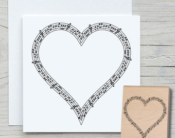 Stamp Music Heart - DIY Motif Stamp for Crafting Cards, Paper, Fabrics - Hobby, Celebration, Wedding