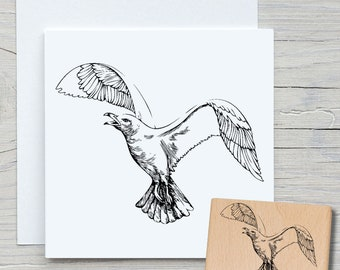Stamp Seagull - DIY Motif Stamp for Crafting Cards, Paper, Fabrics - Maritim, Seafaring, Bird