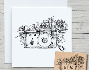 Stamp Camera with Flowers - DIY Motif Stamp for Crafting Cards, Paper, Fabrics - Hobby, Photos, Photo Apprenate