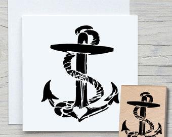 Stamp Anchor - DIY Motif Stamp for Crafting Cards, Paper, Fabrics - Maritim, Seafaring, Home