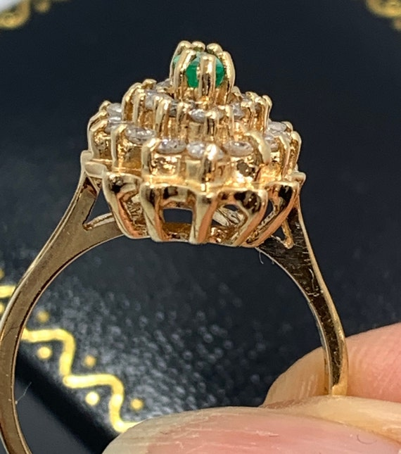 Vintage Emerald and Diamond Ring - image 7